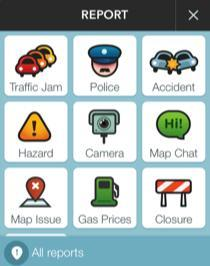 Waze hazards screen
