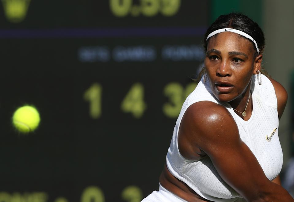 Serena Williams (USA) during her match against Giulia Gatto-Monticone in their Ladies' Singles First Round match during Day 2 of The Championships - Wimbledon 2019 at All England Lawn Tennis and Croquet Club on July 2, 2019 in London, England. (Photo by Rob Newell - CameraSport via Getty Images)
