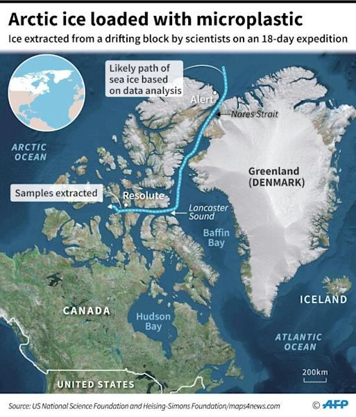 Map showing the likely path of a drifting Arctic sea ice block in which samples extracted by scientists showed microplastic content (AFP Photo/Gal ROMA)