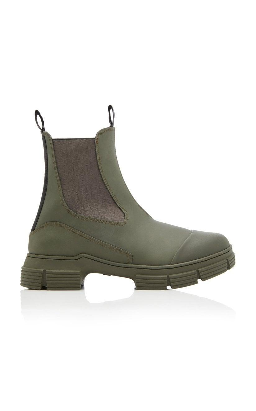 <p>These futuristic <span>Ganni Rubber Chelsea Boots</span> ($245) are ready for anything.</p>