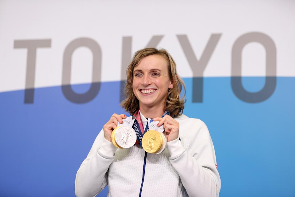 TOKYO, JAPAN - JULY 31: Katie Ledecky of Team USA poses with her two Gold and two Silver medals after a giving a press conference to the media during the Tokyo Olympic Games on July 31, 2021 in Tokyo, Japan. (Photo by Laurence Griffiths/Getty Images)