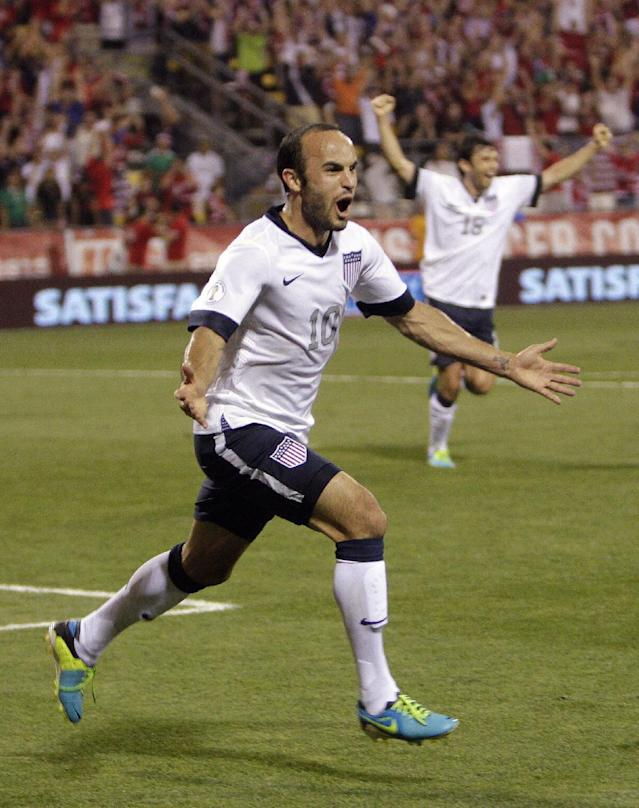 FILE - In this Sept. 10, 2013, file photo, United States' Landon Donovan celebrates after scoring a goal against Mexico during the second half of a World Cup qualifying soccer match in Columbus, Ohio. Donovan hasn't just resurrected his career with the U.S. team, he may be the Americans' most important player. (AP Photo/Jay LaPrete, File)