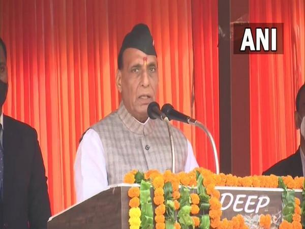 Defence Minister Rajnath Singh at unveiling of statue of prominent freedom fighter Vir Chandra Singh Gharwali in Pauri, Uttarakhand (Photo/ANI)