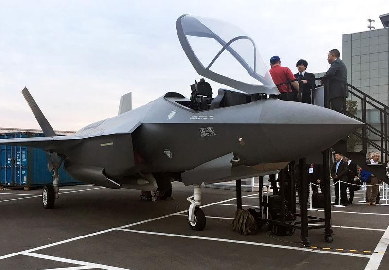 A real-size mock of F-35 fighter jet is displayed at Japan International Aerospace Exhibition in Tokyo