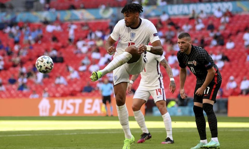 England's Tyrone Mings in action against Croatia.