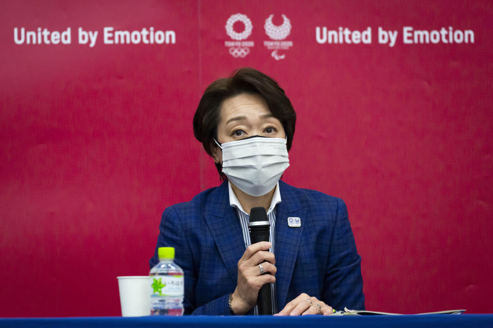 Tokyo 2020 President Seiko Hashimoto speaks during the news conference after receiving a report from a group of infectious disease experts on Friday, June 18, 2021, in Tokyo. The experts including Shigeru Omi, head of a government coronavirus advisory panel, issued a report listing the risks of allowing the spectators and the measurements to prevent the event from triggering a coronavirus spread. (Yuichi Yamazaki/Pool Photo via AP)
