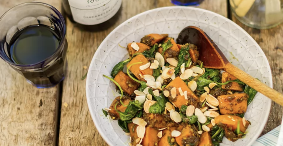 """<p>This vibrant curry is great for when the winter nights start to draw in. Sweet potatoes are packed with vitamins A and B as well as iron and potassium, while spinach is a known superfood. The sweet potatoes are a natural pairing with Indian spices in this <a href=""""https://www.thedailymeal.com/keto-whole30-diet-trends?referrer=yahoo&category=beauty_food&include_utm=1&utm_medium=referral&utm_source=yahoo&utm_campaign=feed"""" rel=""""nofollow noopener"""" target=""""_blank"""" data-ylk=""""slk:plant-based"""" class=""""link rapid-noclick-resp"""">plant-based</a> dish. </p> <p><a href=""""https://www.thedailymeal.com/recipes/sweet-potato-and-spinach-curry-recipe-0?referrer=yahoo&category=beauty_food&include_utm=1&utm_medium=referral&utm_source=yahoo&utm_campaign=feed"""" rel=""""nofollow noopener"""" target=""""_blank"""" data-ylk=""""slk:For the Sweet Potato and Spinach Curry recipe, click here."""" class=""""link rapid-noclick-resp"""">For the Sweet Potato and Spinach Curry recipe, click here. </a></p>"""