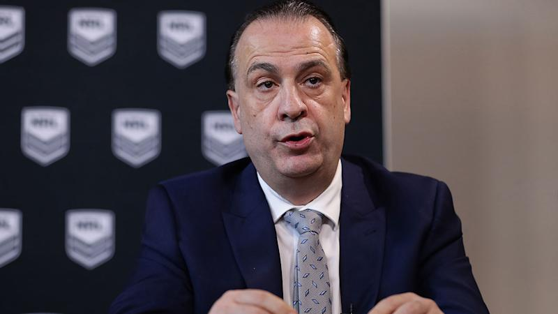 Pictured here, ARLC chairman Peter V'landys says relocating the NRL to Queensland is an option.