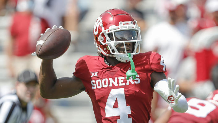 Oklahoma wide receiver Mario Williams (4) passes the ball against Tulane during a NCAA college football game Saturday, Sept. 4, 2021, in Norman, Okla. (AP Photo/Alonzo Adams)