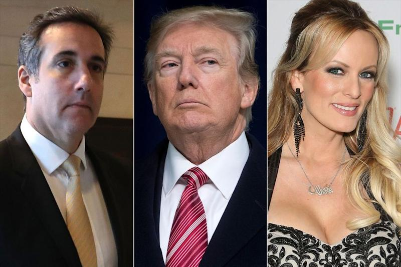 (from left) Michael Cohen, Donald Trump and adult film actress Stormy Daniels.