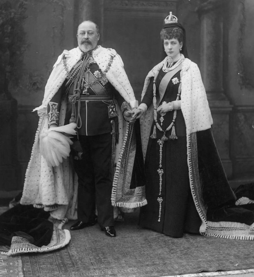"<p>King Edward VII, who ruled from 1901 to 1910, and Queen Alexandra are Queen Elizabeth II's great grandparents. Here, the couple poses at the State Opening of Parliament in London in regalia. Like her in-laws, Queen Alexandra was also an <a href=""https://www.royalcollection.org.uk/collection/the-collectors/queen-alexandra-consort-of-king-edward-vii-king-of-the-united-kingdom-1844-1925#/type/subject"" target=""_blank"">avid fan of photography</a>. </p>"