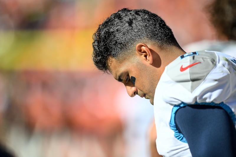 "Disappointed: Marcus Mariota said being benched is a ""hard pill to swallow."" (Getty Images)"