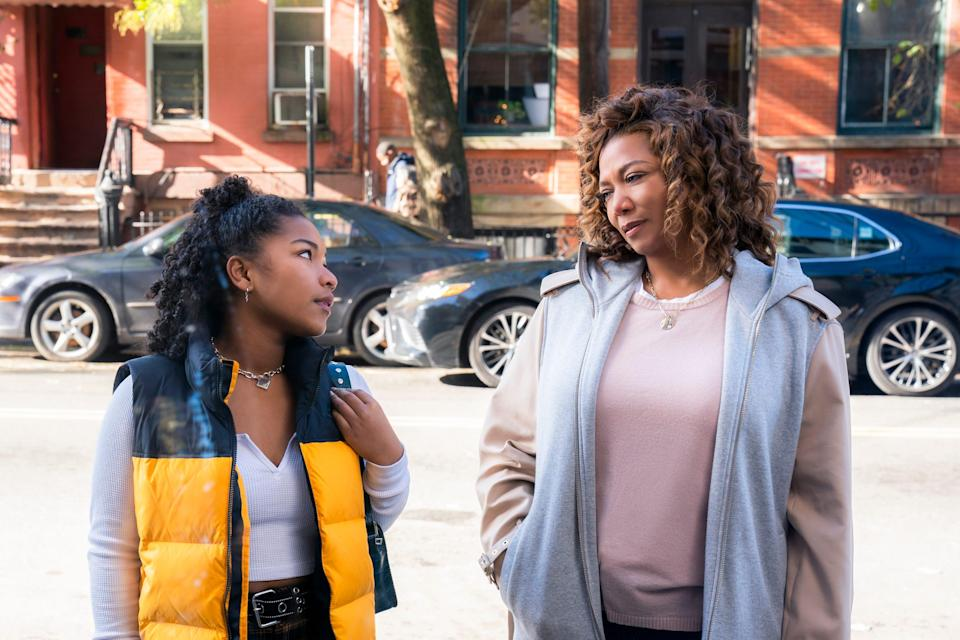 """Queen Latifah as """"The Equalizer"""" in a scene with Laya DeLeon Hayes, who plays her teenage daughter, Delilah."""