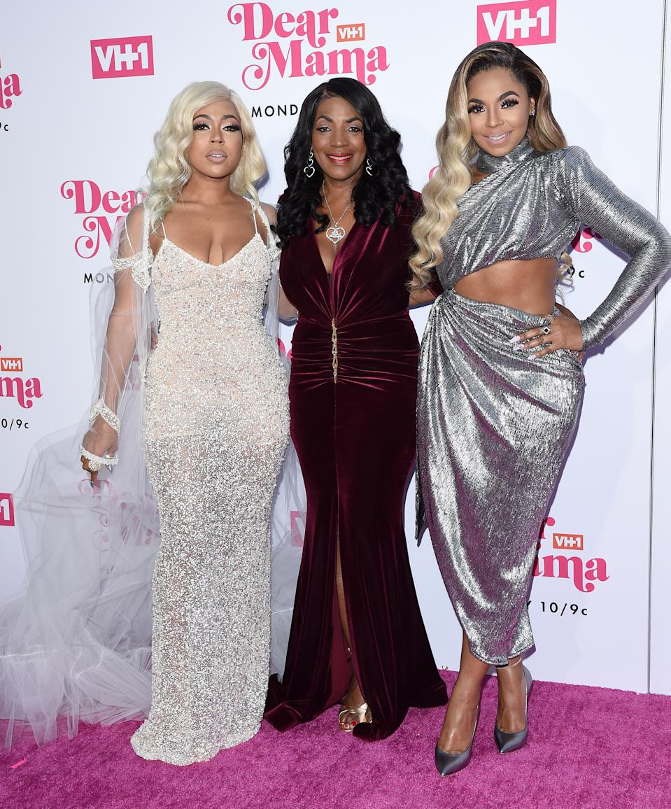 "Shia Douglas, Tina Douglas, and Ashanti attend VH1's Annual ""Dear Mama: A Love Letter To Mom"" in 2019. (Photo: Axelle/Bauer-Griffin/FilmMagic)"