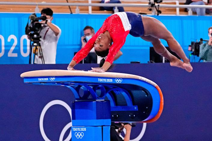 Simone Biles (USA) competes on the vault during the Tokyo 2020 Olympic Summer Games at Ariake Gymnastics Centre on July 27, 2021.