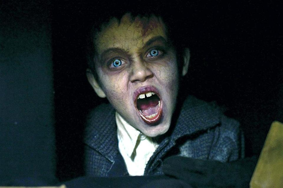 <p>The 2009 horror flick 'The Unborn' features a pallid glowy-eyed kid spirit named Barto (played by Ethan Cutkosky of Showtime's 'Shameless'). Killed in a Nazi concentration camp during World War II, Barto keeps trying to return by entering the bodies of the living. (Photo: Everett)</p>