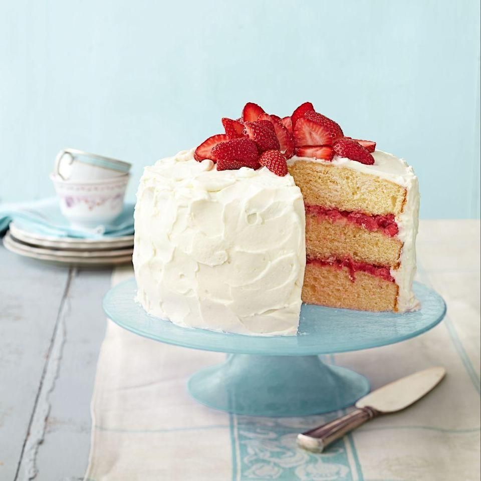 "<p>Embrace the first flavors of spring with this fruity cake, topped with a fluffy cream cheese frosting.</p><p><em><a href=""https://www.goodhousekeeping.com/food-recipes/a15071/strawberry-rhubarb-layer-cake-recipe-ghk0414/"" rel=""nofollow noopener"" target=""_blank"" data-ylk=""slk:Get the recipe for Strawberry Rhubarb Layer Cake »"" class=""link rapid-noclick-resp"">Get the recipe for Strawberry Rhubarb Layer Cake »</a></em></p>"