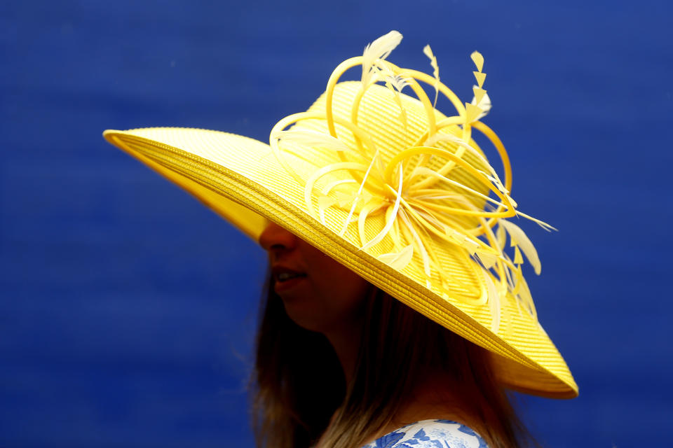 LOUISVILLE, KENTUCKY - MAY 04: A woman wearing a festive hat looks on prior to the 145th running of the Kentucky Derby at Churchill Downs on May 04, 2019 in Louisville, Kentucky. (Photo by Michael Reaves/Getty Images)
