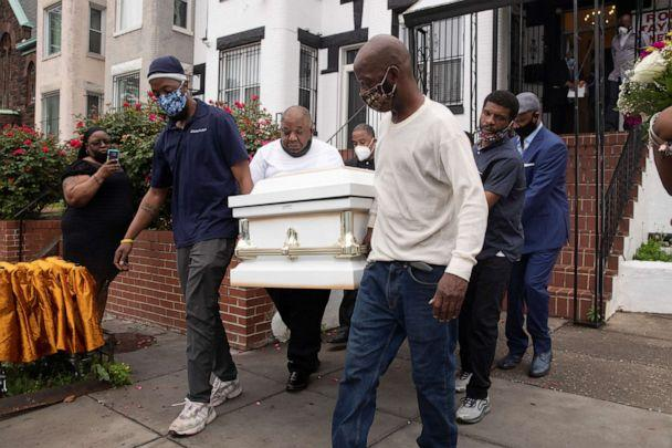 PHOTO: Pallbearers carry the casket of Evelyn Moore Smith, 68, who died with COVID-19, following a funeral service in Washington, D.C., May 28, 2020. (Michael Reynolds/EPA via Shutterstock)