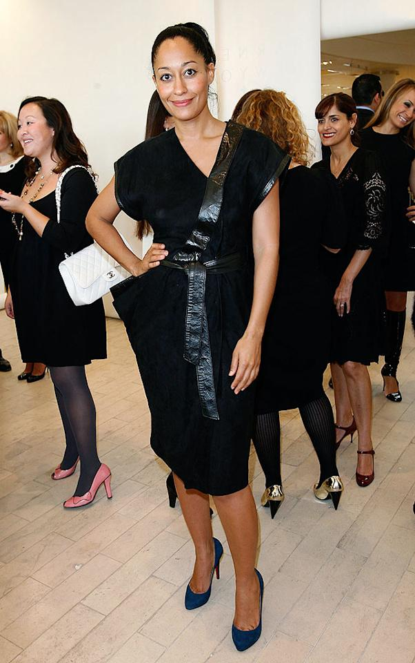 """Former """"Girlfriends"""" star Tracee Ellis Ross spiced up her black frock with a pair of blue pumps. Donato Sardella/<a href=""""http://www.wireimage.com"""" target=""""new"""">WireImage.com</a> - February 18, 2009"""