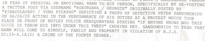 Excerpt from a cyber harassment summons filed against Georgana Sziszak, 20, after she retweeted a photo of a Nutley police officer during a Black Lives Matter proest.