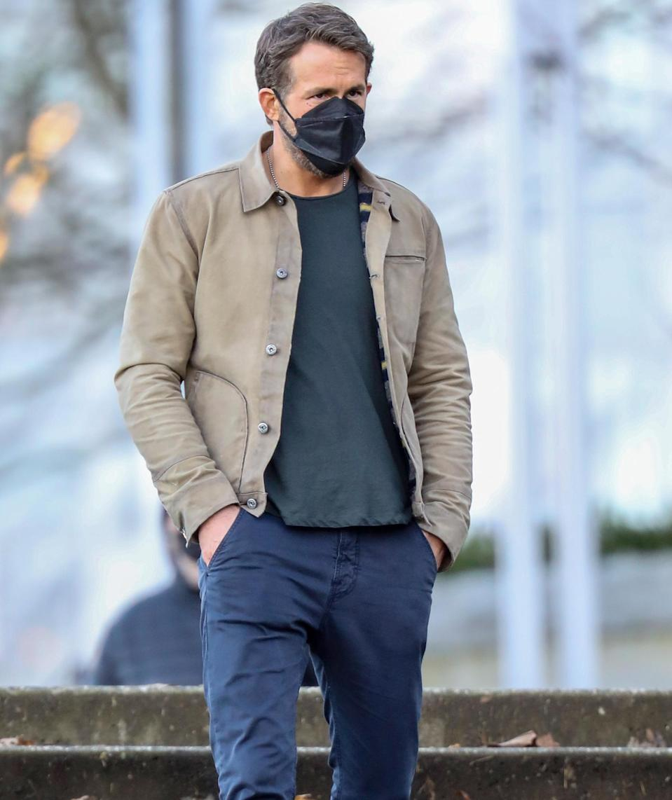 <p>Ryan Reynolds hits the Vancouver, Canada, set of his new film, <em>The Adam Project</em>, on Tuesday.</p>