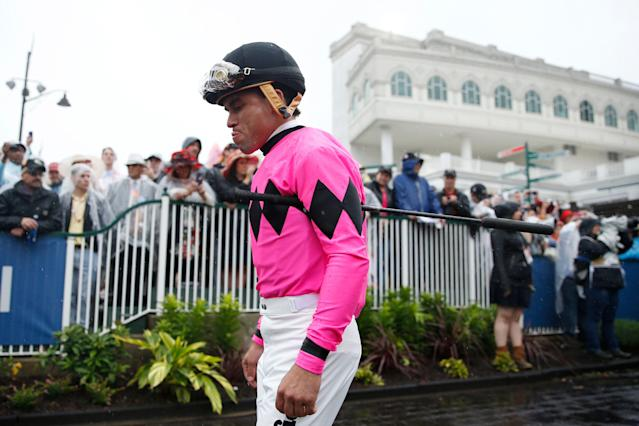 Luis Saez, jockey of Maximum Security, is under suspension after the controversial Kentucky Derby. (Getty Images)