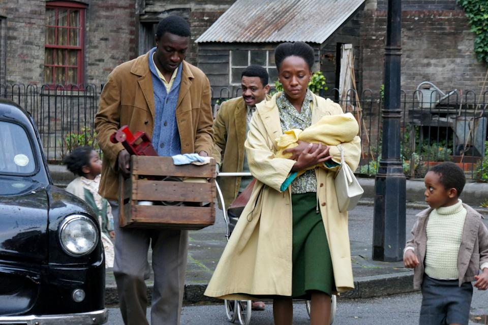 Call the Midwife's Cyril Robinson with Mr. Clarke and Mrs. Clarke. (BBC / Nealstreet Productions / Annie Tricklebank)