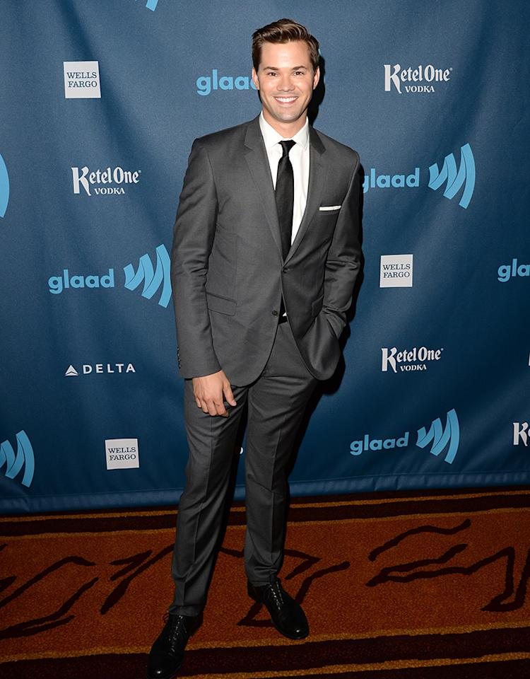 LOS ANGELES, CA - APRIL 20:  Actor Andrew Rannells arrives at the 24th Annual GLAAD Media Awards presented by Ketel One and Wells Fargo at JW Marriott Los Angeles at L.A. LIVE on April 20, 2013 in Los Angeles, California.  (Photo by Jason Merritt/Getty Images for GLAAD)