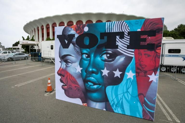 A voting center at The Forum in Inglewood, California -- the nation's wealthiest state, long seen as the Democratic party's election cash cow