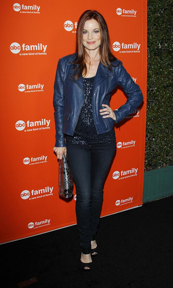 "Laura Leighton (""Pretty Little Liars"") arrives at ABC Family's West Coast Upfronts at The Sayers Club on May 1, 2012 in Hollywood, California."