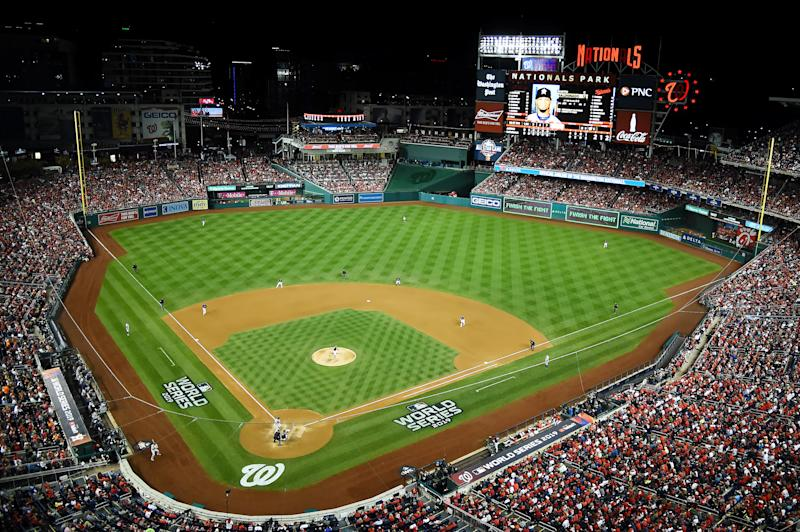 WASHINGTON, DC - OCTOBER 27: A general view as Sean Doolittle #63 of the Washington Nationals delivers the pitch to Martin Maldonado #12 of the Houston Astros during the seventh inning in Game Five of the 2019 World Series at Nationals Park on October 27, 2019 in Washington, DC. (Photo by Will Newton/Getty Images)
