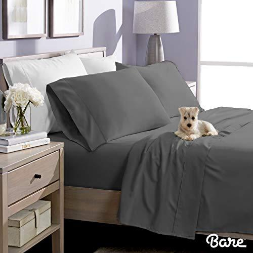 Bare Home Twin XL Sheet Set - College Dorm Size - Premium 1800 Ultra-Soft Microfiber Sheets Twin Extra Long - Double Brushed - Hypoallergenic - Wrinkle Resistant (Twin XL, Grey) (Amazon / Amazon)