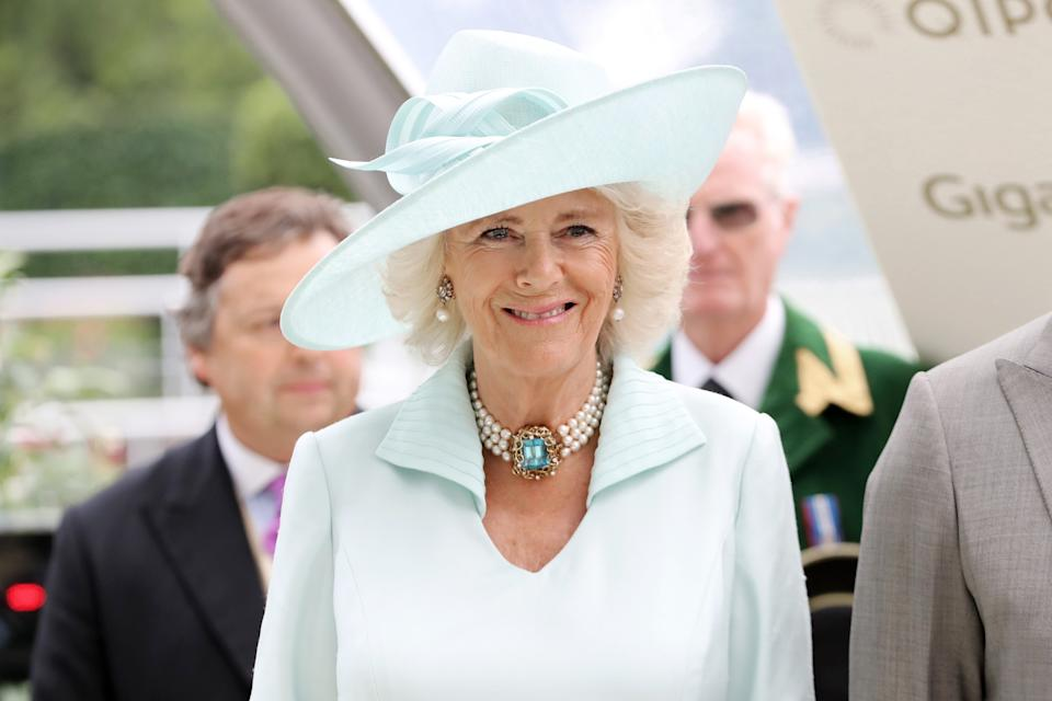 ASCOT, ENGLAND - JUNE 19: Camilla, Duchess of Cornwall is seen during the presentation of the Prince of Wale's Stakes on day two of Royal Ascot at Ascot Racecourse on June 19, 2019 in Ascot, England. (Photo by Chris Jackson/Getty Images)