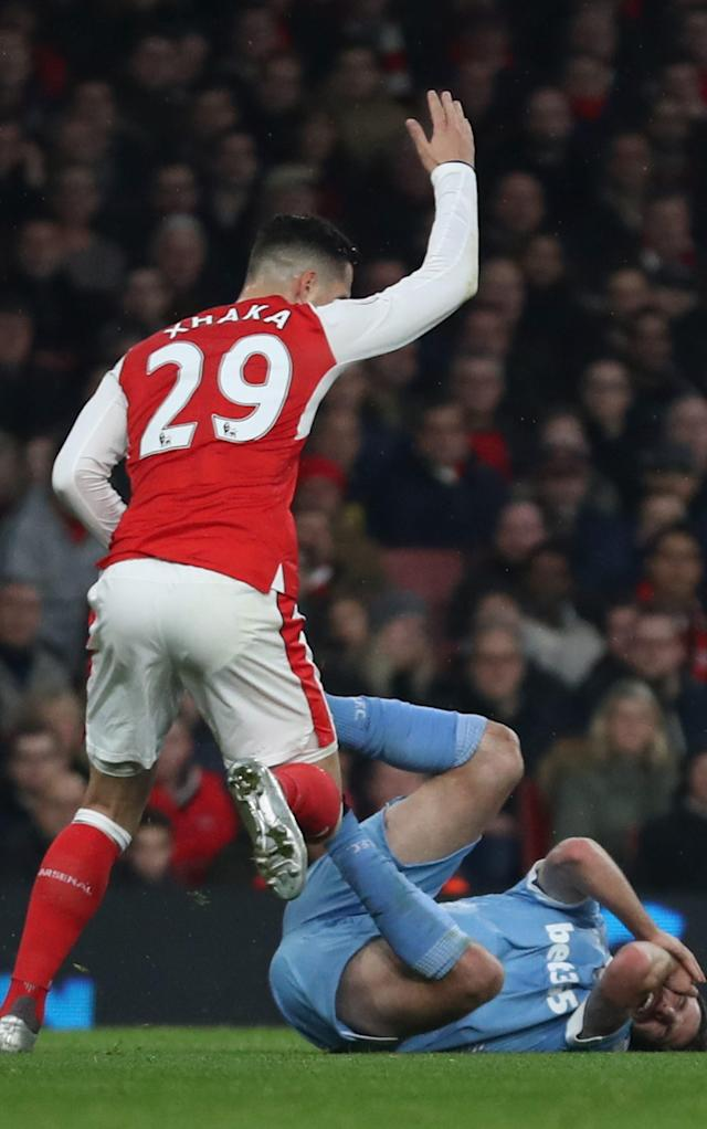 <span>Granit Xhaka is a combative player</span> <span>Credit: GETTY IMAGES </span>
