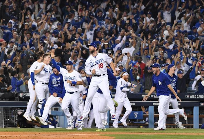 The Los Angeles Dodgers celebration after Chris Taylor hits the game-winning home run