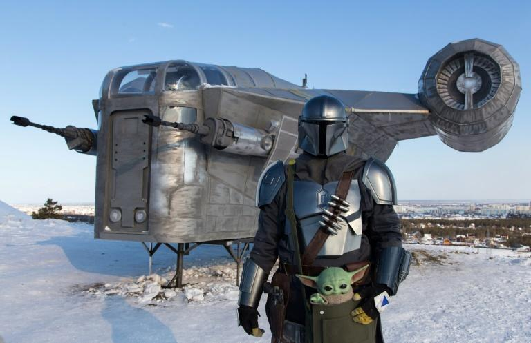 """Star Wars fans in Russia have built a giant replica of a spaceship from the spinoff series """"The Mandalorian"""" and installed it in a park in one of the coldest cities on Earth, Yakutsk"""