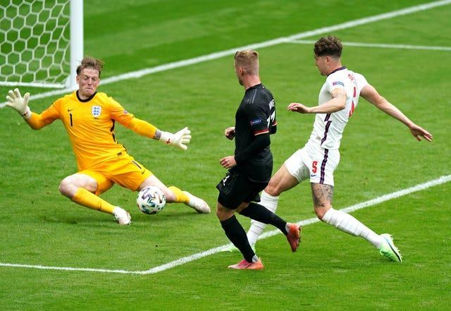 Jordan Pickford makes a crucial save to prevent Germany taking a lead in the first half
