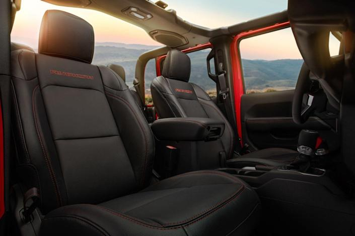 <p>The 60/40-split rear seatbacks fold flat, and the seat bottoms fold up. When both are deployed to make a seat there's more rear legroom than in any other mid-size truck.</p>
