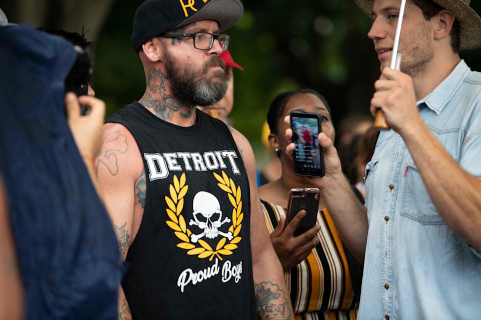 Protesters and counterprotesters, including dozens calling themselves Proud Boys, gather in front of the White House on July 4, 2019, before President Donald Trump's speech from the steps of the Lincoln Memorial.
