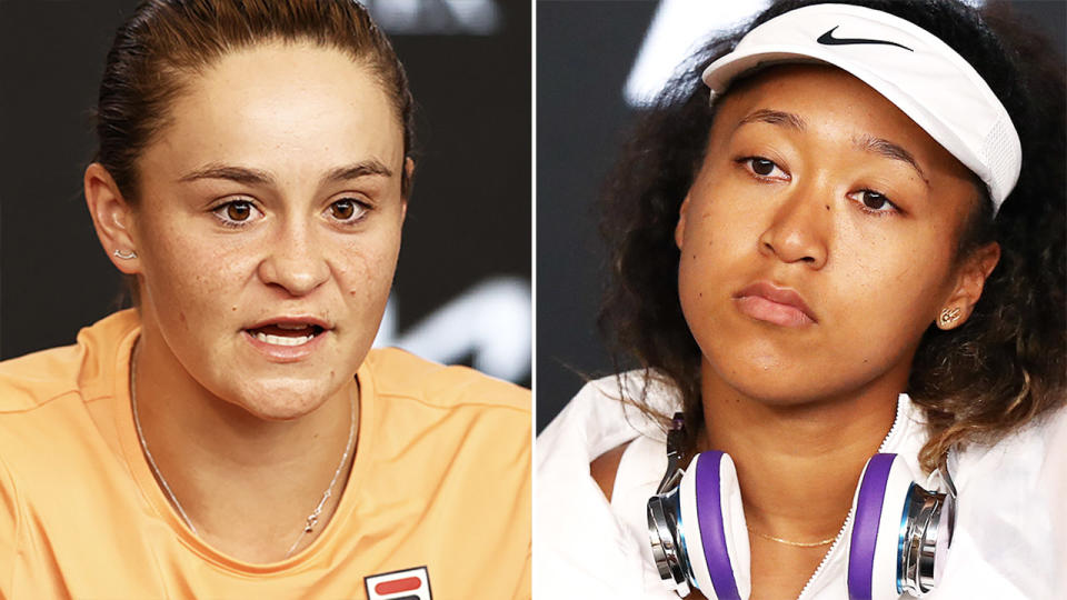 Ash Barty and Naomi Osaka during press conferences at the Australian Open. Image: Getty