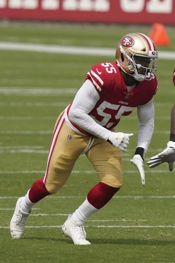 San Francisco 49ers defensive end Dee Ford (55) against the Arizona Cardinals during the first half of an NFL football game in Santa Clara, Calif., Sunday, Sept. 13, 2020. (AP Photo/Tony Avelar)