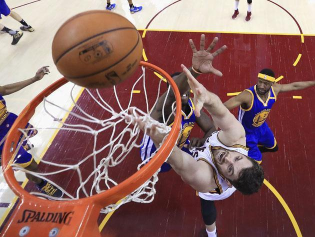 Kevin Love goes for the deuce. (Getty Images)