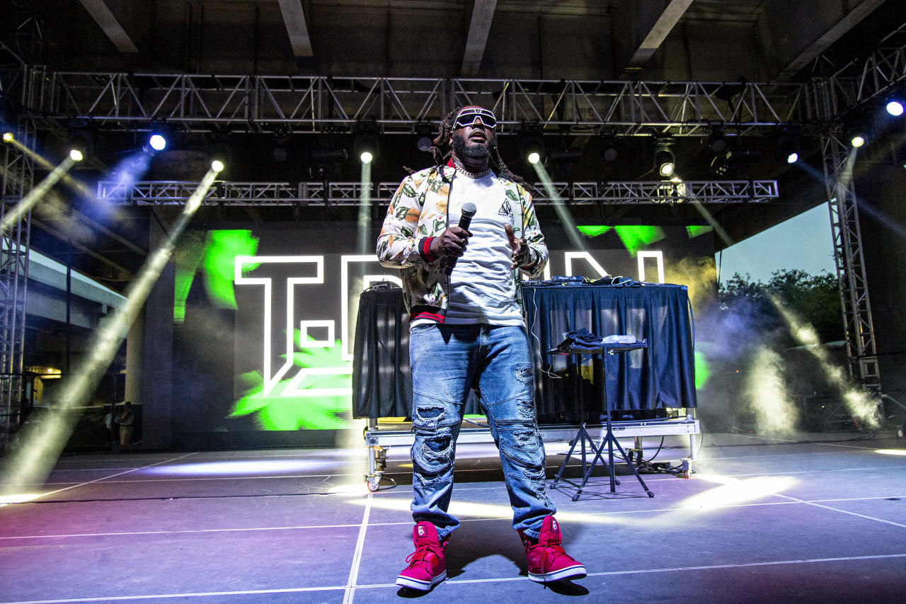 T-Pain performs at Forecastle Music Festival at Waterfront Park on Saturday, July 14, 2018, in Louisville, Ky. (Photo by Amy Harris/Invision/AP)
