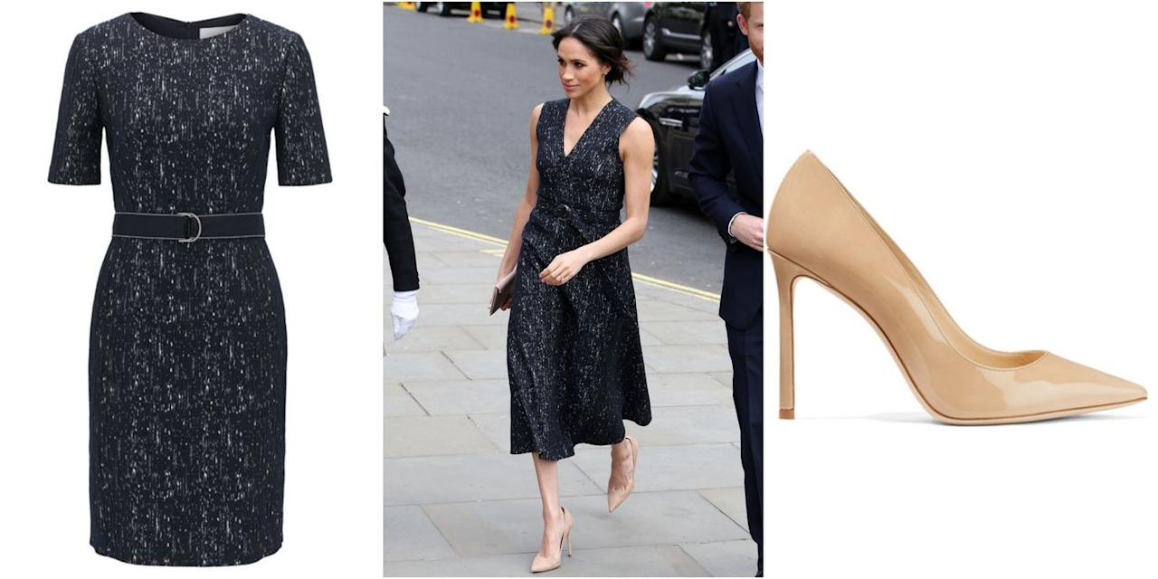 """<p>The then bride-to-be wore a Hugo Boss dress (similar version <a rel=""""nofollow"""" href=""""https://www.hugoboss.com/uk/belted-shift-dress-in-a-patterned-structured-stretch-fabric/hbeu50384847_961.html?cgid=11300#wrapper"""">here</a>) with nude pumps (similar version <a rel=""""nofollow"""" href=""""https://www.net-a-porter.com/gb/en/product/1039416/Jimmy_Choo/romy-100-patent-leather-pumps"""">here</a>) to the memorial service of Stephen Lawrence.  </p>"""
