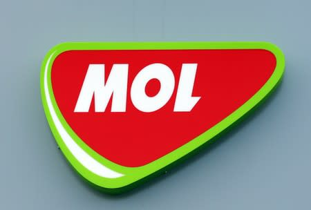 Logo of Hungarian oil and gas group MOL at the company's refinery in Szazhalombatta