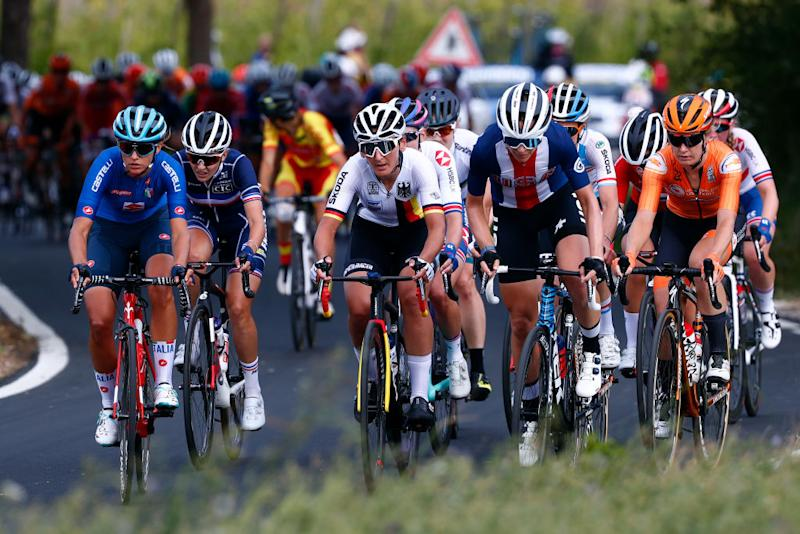 The breakaway during the women's road race at the UCI Road World Championships