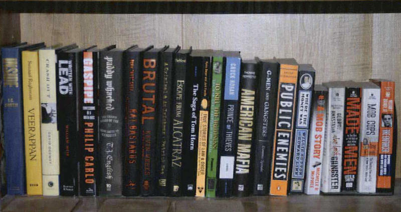 This 2011 photo provided by the U.S. Attorney's office shows a shelf containing books about gangsters and crime in the Santa Monica, Calif., apartment where Whitey Bulger and Catherine Greig hid before their arrest in June 2011. The photo was among hundreds of documents unsealed by prosecutors Friday, June 15, 2012, three days after Greig was sentenced in Boston to eight years in prison for helping Bulger during his years as a fugitive. (AP Photo/U.S. Attorney's Office)