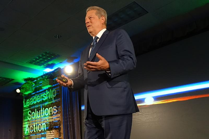 "Former US vice president Al Gore lamented killer heat waves, drought, a media that doesn't connect the dots between extreme weather and global warming, and what he called ""crazy short-term thinking"" among politicians who deny climate change (AFP Photo/Kerry Sheridan)"