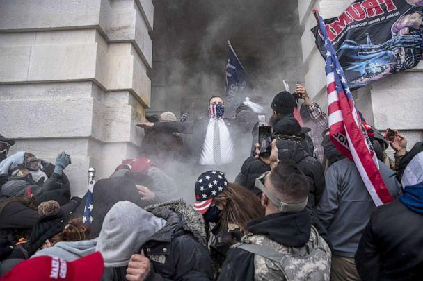 PHOTO: Demonstrators breach the U.S. Capitol building during a protest in Washington, Jan. 6, 2021.  (Bloomberg via Getty Images, FILE)